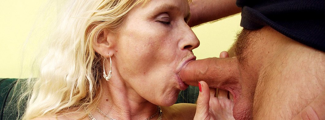 Blonde mom sucking a dick